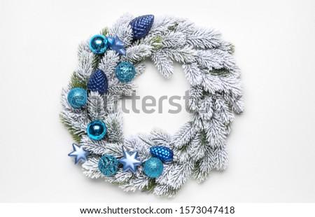 Beautiful Christmas wreath on white background #1573047418