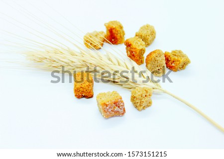 Rye crackers and rye spike located on a white background #1573151215