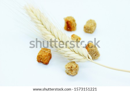 Rye crackers and rye spike located on a white background #1573151221