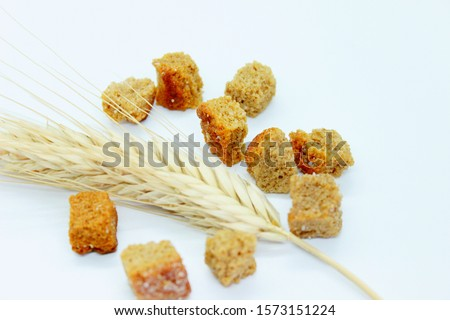 Rye crackers and rye spike located on a white background #1573151224