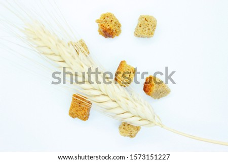 Rye crackers and rye spike located on a white background #1573151227