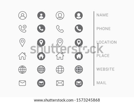 Business Card Icon Set. Vector minimal symbols Royalty-Free Stock Photo #1573245868