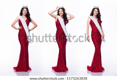 Portrait of Miss Asian Pageant Beauty Contest in Red sequin Evening Ball Gown long dress with light Diamond Crown and sash, studio lighting white background, collage group pack of full length body Royalty-Free Stock Photo #1573263838