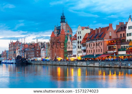 Old Town of Gdansk, Dlugie Pobrzeze and Motlawa River at evening, Poland #1573274023