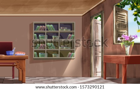 Empty interior of the Asia house (Vietnam, china...). Ancient Asia kitchen with bookshelves, vase of flowers, table, tv, food, wooden window, art style background cartoon illustration #1573290121