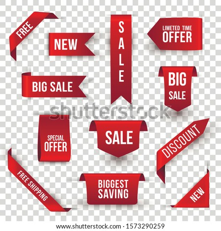 Shopping sales and discounts promotional labels vector set. New collection, biggest saving badges isolated pack on transparent background. Limited special offer, discount advertisement stickers bundle Royalty-Free Stock Photo #1573290259