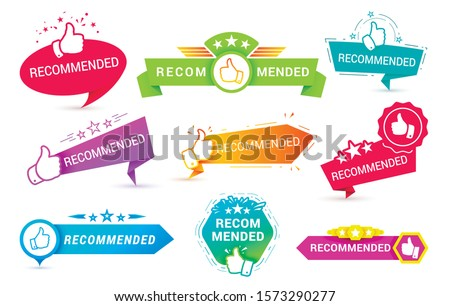 Recommend badges creative vector templates set. Recommendations colorful tags design with thumbs up isolated on white background. Best products, approved quality, warranty paper ribbons collection Royalty-Free Stock Photo #1573290277