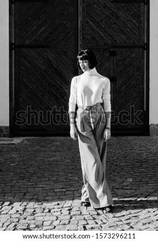 Femininity and emphasize feminine figure. Woman fashion outfit. Girl makeup face fashion trend matching clothes. Stylist fashion expert. High waisted trousers keep returning to catwalk. Fashion girl. #1573296211
