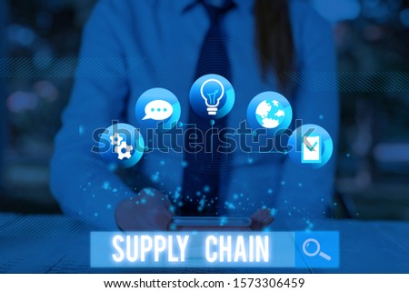 Conceptual hand writing showing Supply Chain. Business photo showcasing network between a company and suppliers in producing a product. #1573306459