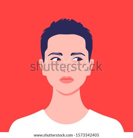 Portrait of a short-haired girl. Androgin lookingwith asidelongglance. Diversity. Avatar for a social network. Student. Vector flat illustration