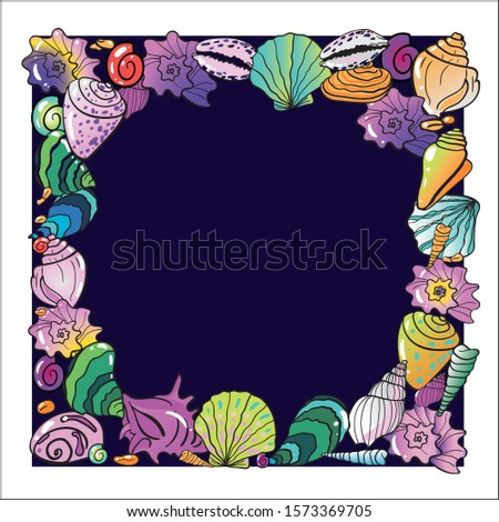 Square bright colorful sea shell wreath on dark and white background. All parts separate. Invitatoin card, poster, clipart, high resolution, 300 dpi, eps isolated