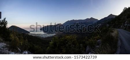 Panorama of bay at Lake Skadar / Lake Shkodër, Montenegro. #1573422739