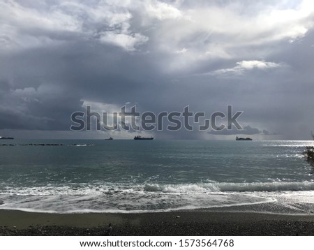 Sea landscape view horizon and the ships on horizon #1573564768