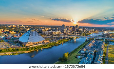 Memphis, Tennessee, USA Downtown Skyline Aerial.