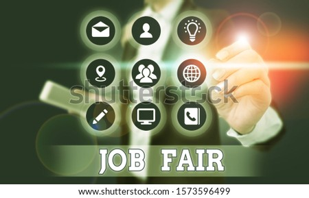 Word writing text Job Fair. Business concept for event in which employers recruiters give information to employees. #1573596499