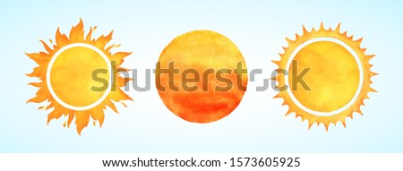 Watercolor vector sun shapes. Rising sun, sunset, dawn illustrations set. Fire colors round shape, watercolour stains. Orange red yellow circle, flaming crown frame. Maslenitsa, Shrovetide background. #1573605925
