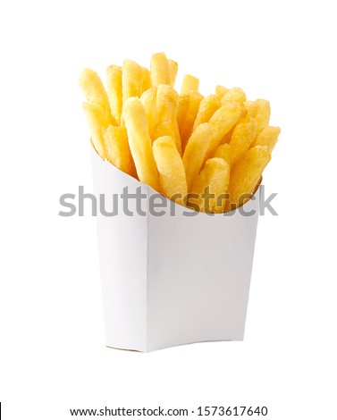 French fries in a white paper box isolated on white background. Front view. french fries in a paper wrapper . #1573617640