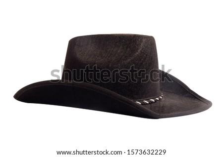 Black cowboy hat isolated on white background. #1573632229