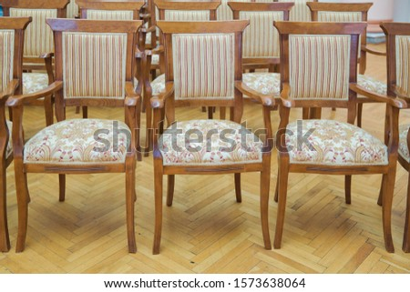 Elite seats, comfortable armchairs, Conference room with brown many armchairs . Many empty armchairs. #1573638064