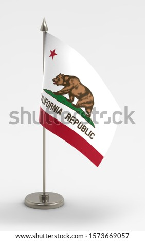 California table flag on a white background. Flag of California; 3d render. #1573669057