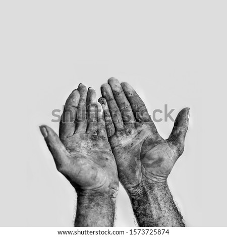 man with dirty hands, black and white photography  #1573725874