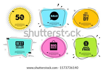 Up to 20% off Sale. Best seller, quote text. Discount offer price sign. Special offer symbol. Save 20 percentages. Quotation bubble. Banner badge, texting quote boxes. Discount tag text. Vector #1573736140