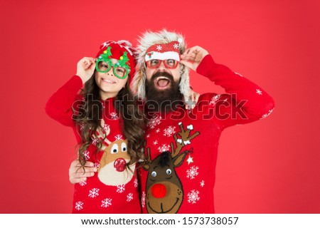 So pleased. stay warm in winter. merry christmas. child and santa man on party. love and joy. father and daughter celebrate xmas. small girl having fun with dad. happy new year. family holiday. #1573738057
