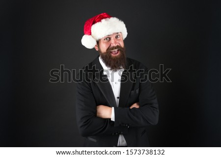Man bearded hipster wear santa hat. Christmas spirit concept. Corporate holiday party ideas. Corporate christmas party. Insurance services. Manager celebrate new year. Christmas party. Bank worker. #1573738132