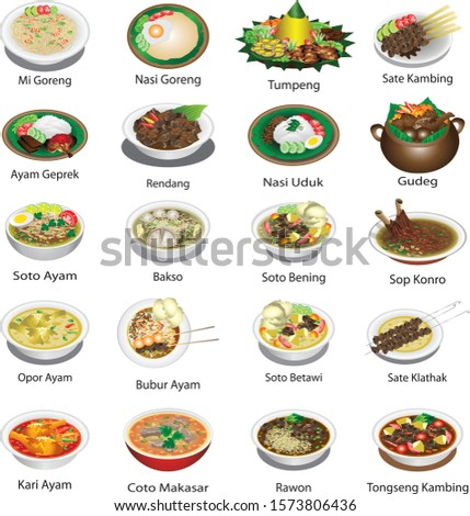 Indonesian cuisine famous dishes, delicious cullinary food - Vector Royalty-Free Stock Photo #1573806436