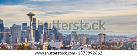 Seattle city view from Kerry park before sunset
