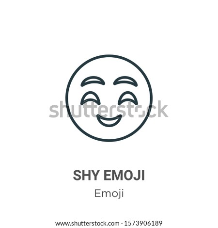 Shy emoji outline vector icon. Thin line black shy emoji icon, flat vector simple element illustration from editable emoji concept isolated on white background #1573906189