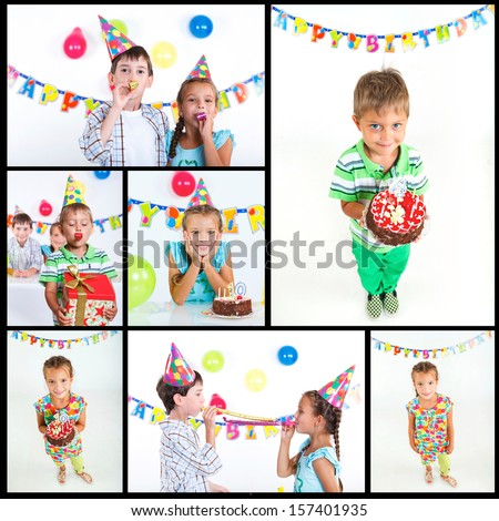 Collage of images group of adorable kids having fun at birthday party with birthday cake