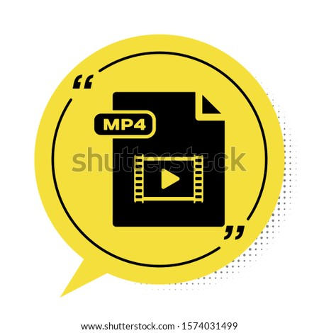 Black MP4 file document. Download mp4 button icon isolated on white background. MP4 file symbol. Yellow speech bubble symbol. Vector Illustration