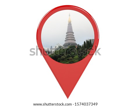 Loation or red pin indicating the location on various tourist attractions in Thailand. 3D illustration. White background - illustration #1574037349