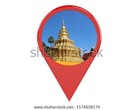 Loation or red pin indicating the location on various tourist attractions in Thailand. 3D illustration. White background - illustration #1574038174