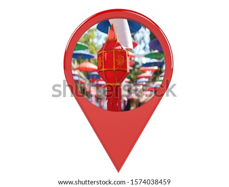 Loation or red pin indicating the location on various tourist attractions in Thailand. 3D illustration. White background - illustration #1574038459