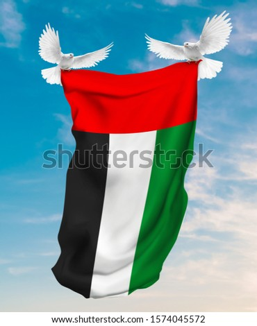 United Arab Emirates flag carried by white pigeon with sky background flag carried by white pigeon with sky background #1574045572