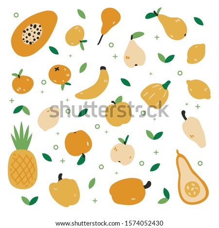 Big set with hand drawn colorful doodle fruit and vegetables. Cute style vector collection: orange, pear, apple, pepper, lemon, pineapple. Flat icons. Vegetarian healthy food. Vegan, farm, organic #1574052430