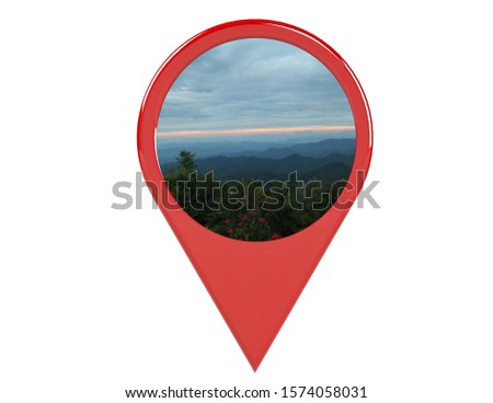 Loation or red pin indicating the location on various tourist attractions in Thailand. 3D illustration. White background - illustration #1574058031