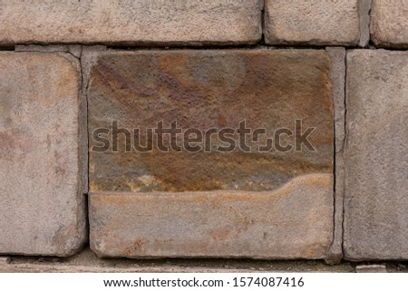 Brown stone wall. Stone texture. Background. Wallpaper. Copy space. #1574087416
