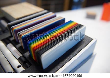 designer pantone colour swatches plastic laminate example set in and industrial creative office. interior design, product design, graphic design and artists colour swatches. creative industry. #1574090656