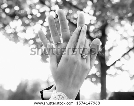 hands of wedding couple  in love. Relationship, love and tenderness concept #1574147968