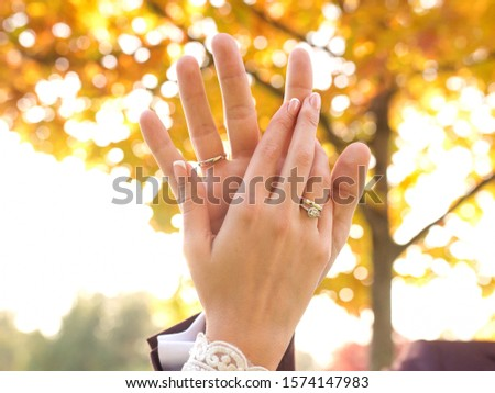 hands of wedding couple  in love. Relationship, love and tenderness concept #1574147983