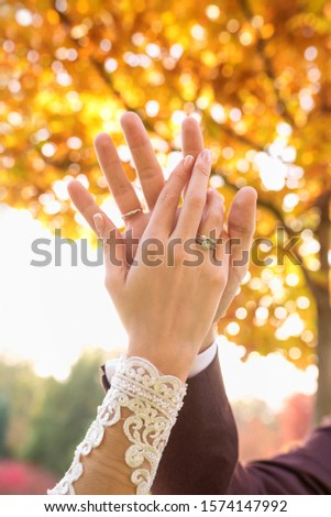 hands of wedding couple  in love. Relationship, love and tenderness concept #1574147992