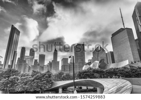 Beautiful view of Skyline of Chicago, b/w picture.