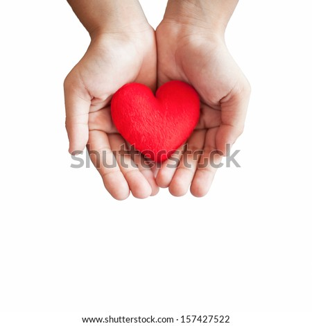 hands hold a red heart on white background #157427522