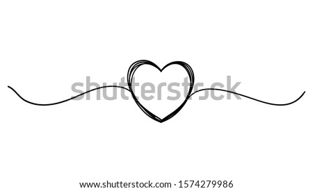 Tangled grunge round scribble hand drawn heart with thin line, divider shape. continuous line style vector isolated #1574279986