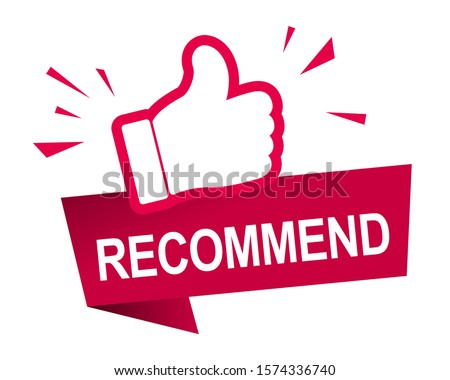 Recommend icon design. Red label recommend with thumb up icon in trendy flat style design. Vector illustration. #1574336740