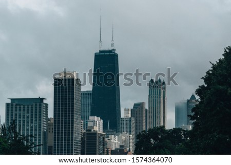 The Chicago skyline on a cloudy day