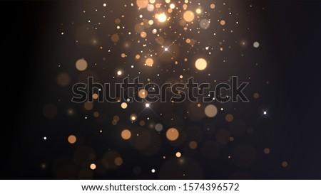 Vector background with golden bokeh, falling golden sparks, dust glitter, blur effect #1574396572